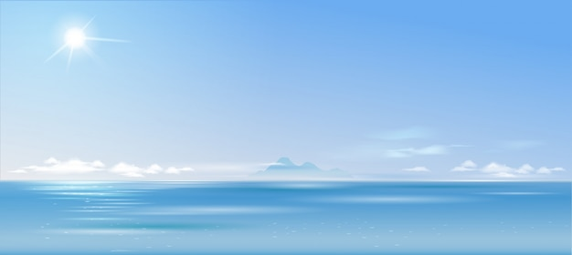 Background cloudy landscape over the sea and