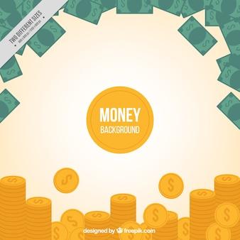 Sullo sfondo delle monete e banconote