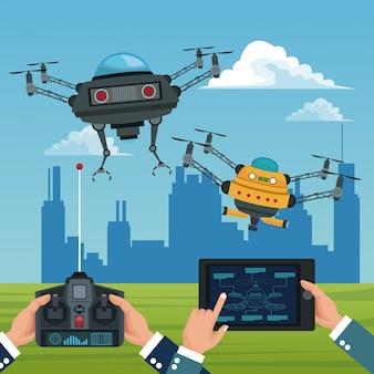 背景色都市の風景リモコンとタブレットの近代的なロボットのドローンのバナーを設定