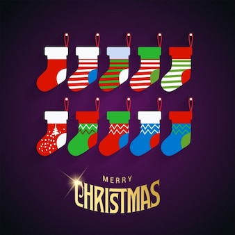 Background of colored christmas socks