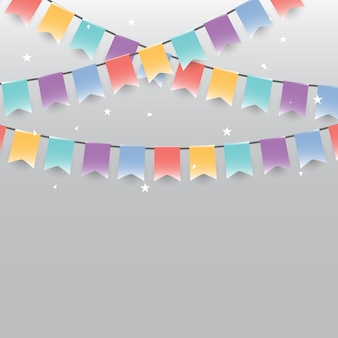 Background of colored garlands festive flags and confetti