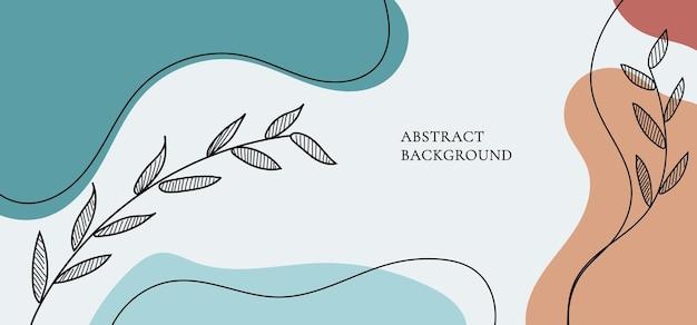 背景色の有機的な形、線画の葉。