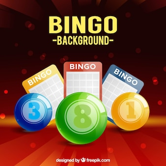 Background of colorful bingo balls and ballot papers