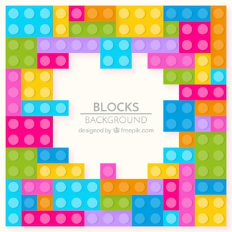 Background of colorful construction game pieces