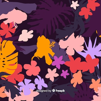 Background of colorful floral silhouettes
