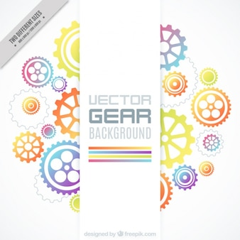 Background of colorful gears in flat design