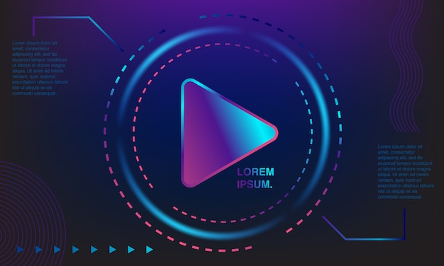 Background colorful play button. colorful banners. gradations of purple, blue and pink.