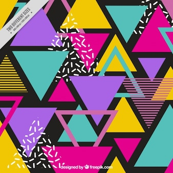 Background of colorful triangles in memphis style