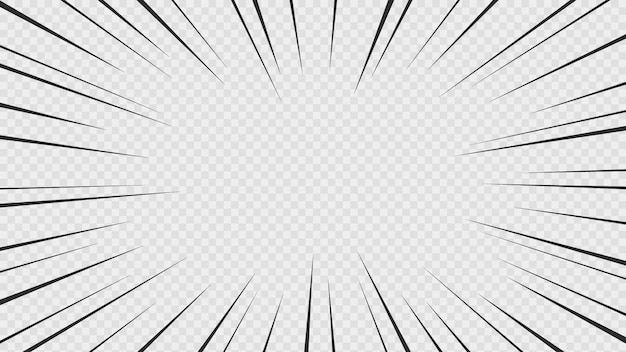 Background of comic book action lines. speed lines manga frame isolated on transparent background.