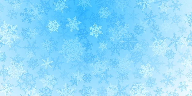 Background of complex translucent christmas snowflakes in light blue colors. winter illustration with falling snow