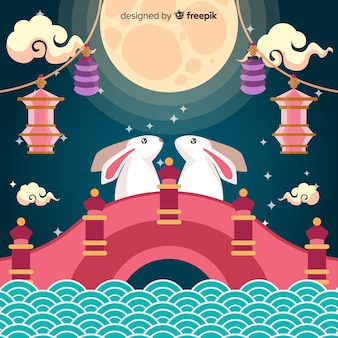 Background concept for mid autumn festival in flat style