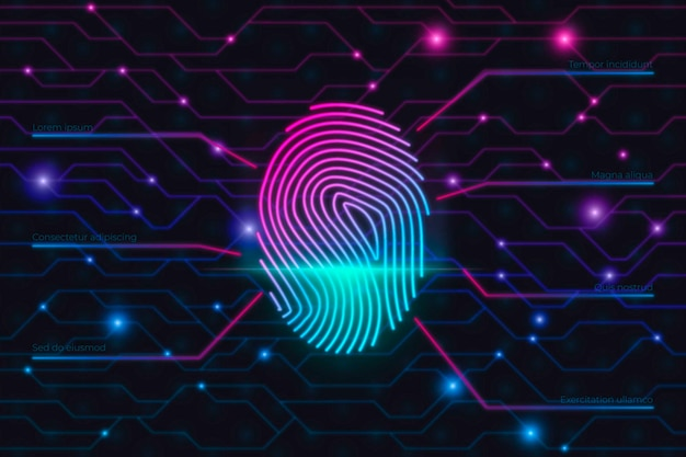 Background concept with neon fingerprint