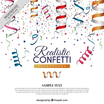Background of confetti and colored realistic streamer