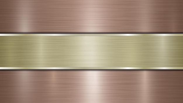 Background consisting of a bronze shiny metallic surface and one horizontal polished golden plate located centrally, with a metal texture, glares and burnished edges