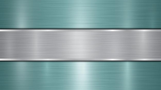Background consisting of a light blue shiny metallic surface and one horizontal polished silver plate located centrally, with a metal texture, glares and burnished edges