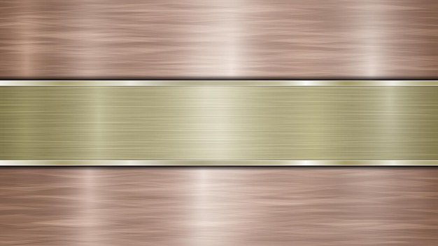 Фон, состоящий из бронзовой блестящей металлической поверхности и одной горизонтальной полированной золотой пластины, расположенной по центру, с металлической текстурой, бликами и полированными краями