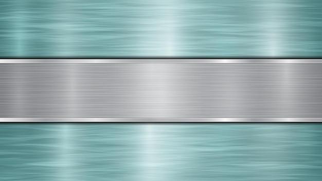 밝은 파란색 반짝이는 금속 표면과 중앙에 위치한 하나의 수평 광택 은판으로 구성된 배경, 금속 질감, 눈부심 및 광택 가장자리