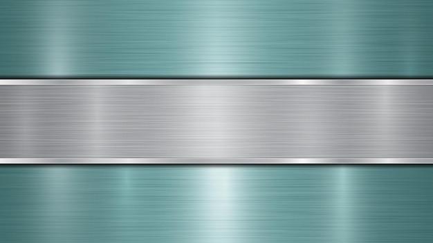 밝은 파란색의 반짝이는 금속 표면과 중앙에 위치한 하나의 수평 광택 실버 플레이트로 구성된 배경, 금속 질감, 눈부심 및 광택 처리 된 가장자리