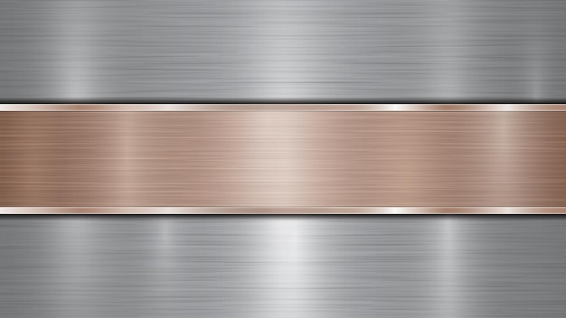 Background consisting of a silver shiny metallic surface and one horizontal polished bronze plate located centrally, with a metal texture, glares and burnished edges