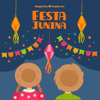 Background of couple with hat celebrating party junina