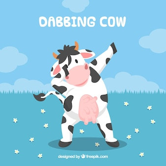 Background of cow doing dabbing movement
