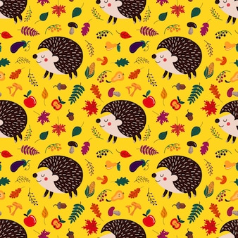 Background of cute cartoon hedgehogs among autumn leave and fruits with mushrooms on yellow backdrop