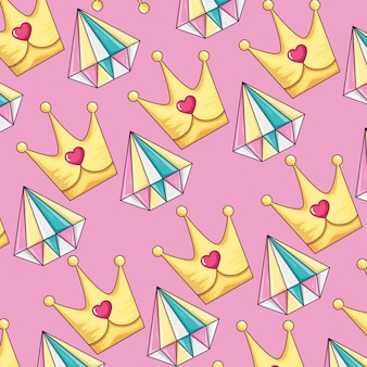 Background of cute diamonds and crowns