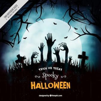 Background of dark graveyard with zombie hands