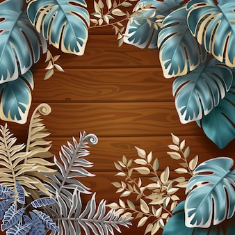 Background of dark leaves fern and lianas.
