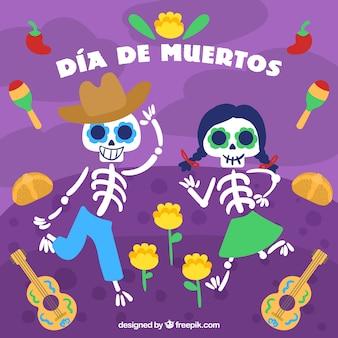 Sfondo del giorno dei morti con scheletri danzanti