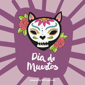 Background day of the dead with skull and flowers