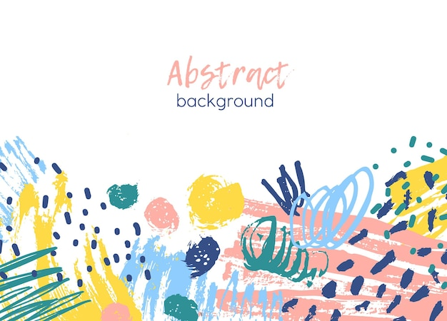 Background decorated by colorful chaotic paint traces, brushstrokes, scribble, daub, stains and blots
