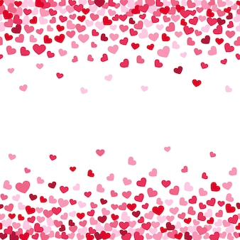 Background decorating of falling valentine hearts confetti