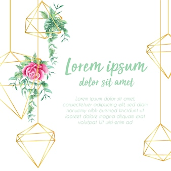 Background decorative geometric greenery watercolor