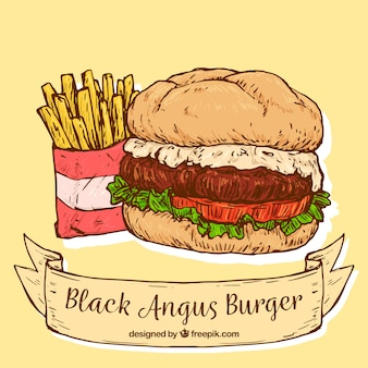 Background of delicious burger in hand-drawn style