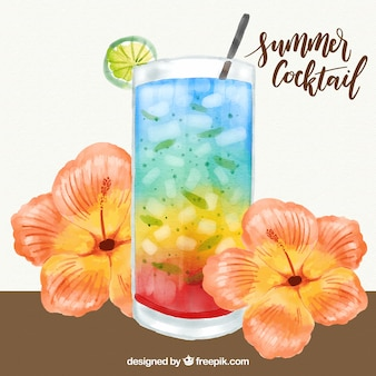Background of delicious cocktail with watercolor flowers