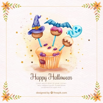 Background of delicious cupcake with halloween decoration
