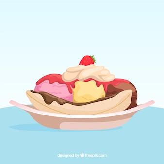 Sfondo del delizioso dessert con gelato