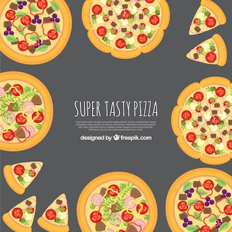 Background of delicious pizzas