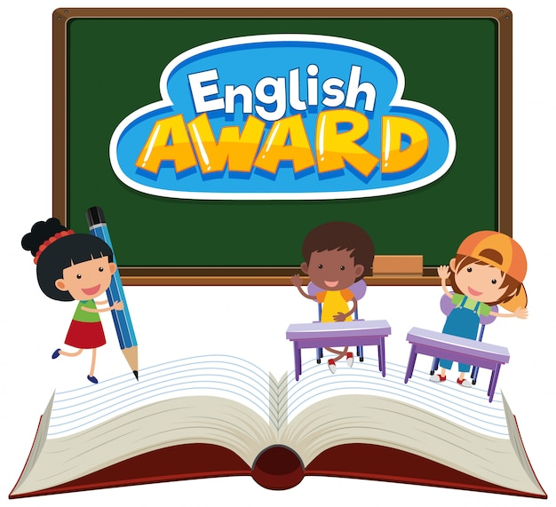 Background design for english award with kids in the classroom
