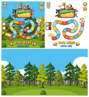 동물과 숲 배경으로 게임을위한 배경 디자인