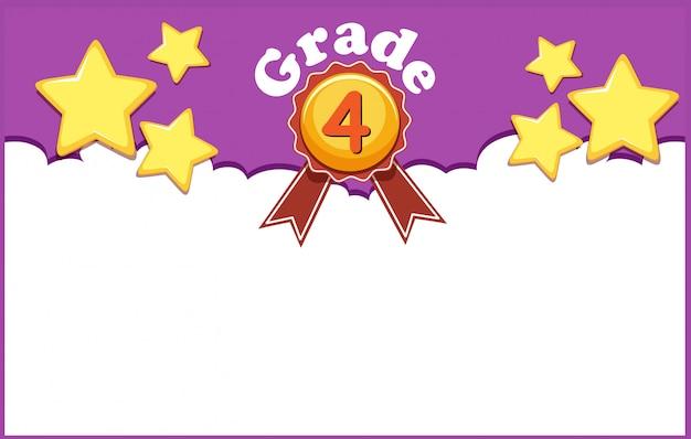 黄色の星の4年生の背景デザイン