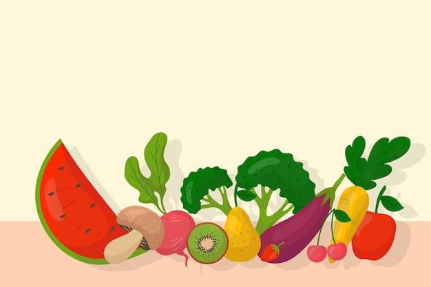 Background design fruits and vegetables