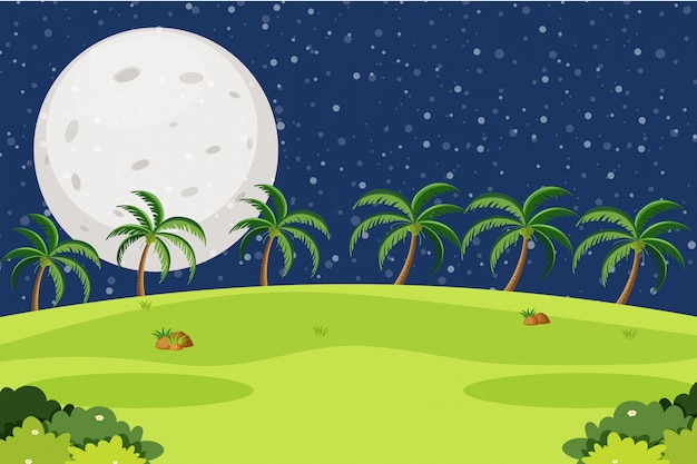 Background design of landscape with park on fullmoon night