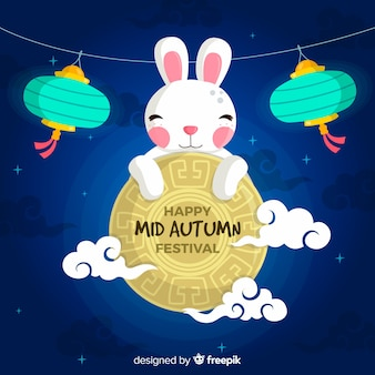 Background design for mid autumn festival in flat style