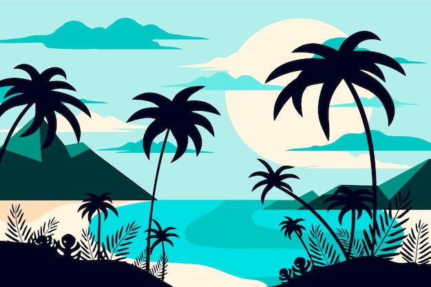 Background design palm silhouettes