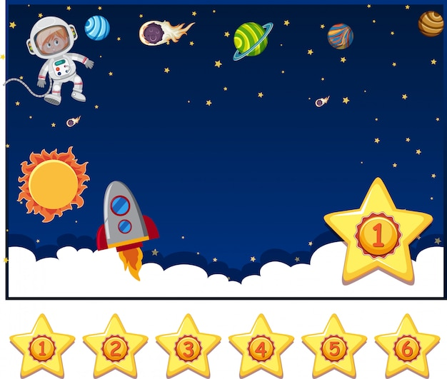 Background design template with astronaut and many planets