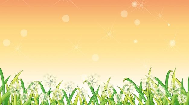 Modello di disegno di sfondo con erba verde e fiori