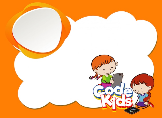 Background design template with kids using computer