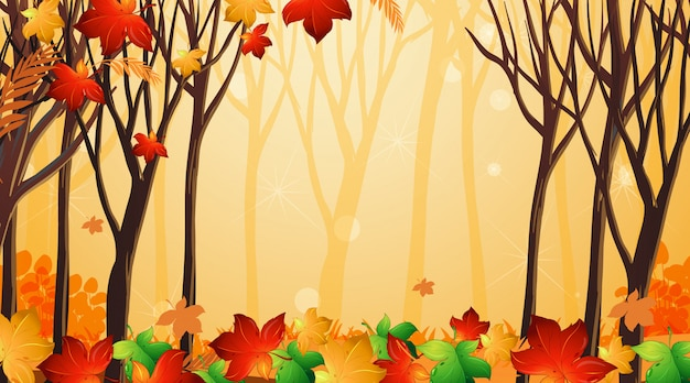 Background design template with leaves and trees
